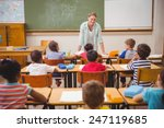 pretty teacher talking to the...   Shutterstock . vector #247119685