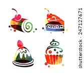 set of watercolor sweet cake...   Shutterstock .eps vector #247127671