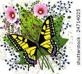 butterfly on spring flowers   Shutterstock . vector #24714025