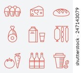 dairy products  thin line style ... | Shutterstock .eps vector #247143079