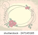Cute floral frame. Vector doodle background with flower
