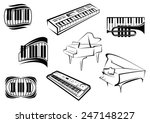 piano musical outline icons and ... | Shutterstock .eps vector #247148227