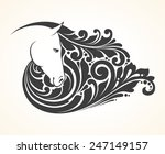 Stock vector ornamental decorative horse with a beautiful mane 247149157