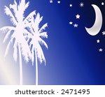Abstract Beach Nightime Moon Scene design - stock photo