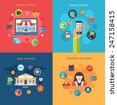 set of online shopping  mobile... | Shutterstock .eps vector #247158415