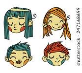 vector cartoon flat cute faces...