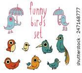 vector cartoon flat birds set...