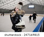 Cheerful Girl With Skates On...