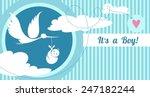 stork carrying a cute baby.... | Shutterstock .eps vector #247182244