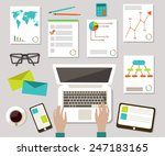 flat desktop | Shutterstock .eps vector #247183165