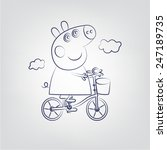 pepa pig on a bicycle line   Shutterstock .eps vector #247189735