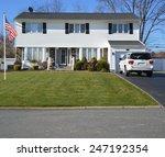 american flag pole white... | Shutterstock . vector #247192354