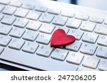 heart on the keyboard  dating... | Shutterstock . vector #247206205