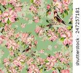 seamless pattern spring bird on ... | Shutterstock . vector #247257181