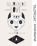 cartoon cat typographic poster. ... | Shutterstock .eps vector #247262731