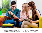 three young friends or students ... | Shutterstock . vector #247279489
