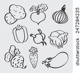 vegetables icon set. vector. | Shutterstock .eps vector #247284235