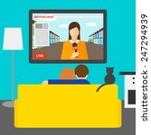 couple and cat watching news on ... | Shutterstock .eps vector #247294939