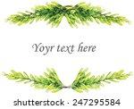 vector watercolor leaves border ... | Shutterstock .eps vector #247295584