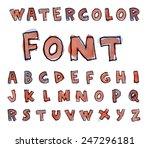 font watercolor. handwritten... | Shutterstock .eps vector #247296181