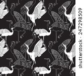 Cranes Birds Seamless Black An...