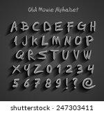 old movie calligraphy alphabet   Shutterstock .eps vector #247303411