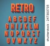 retro 3d alphabet set | Shutterstock .eps vector #247303735