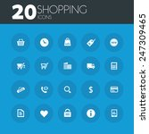 shopping icons on round blue...