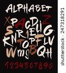 hand drawn alphabet in retro... | Shutterstock .eps vector #247318291