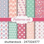 set of patterns. floral  polka... | Shutterstock .eps vector #247326577