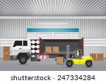 vector of forklift working with ... | Shutterstock .eps vector #247334284