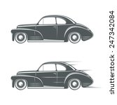 black and white classic car icon | Shutterstock . vector #247342084