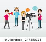 people filming and talking... | Shutterstock .eps vector #247350115