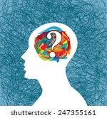 Stock vector man thinking many question brain idea 247355161