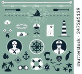 vector nautical icons  captain... | Shutterstock .eps vector #247365139