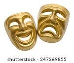 Gold Movie Masks Isolated On...