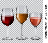 three transparent glass goblets ... | Shutterstock .eps vector #247370185