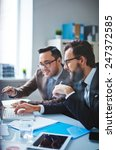 asian businessman presenting... | Shutterstock . vector #247372585
