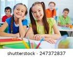 friendly little girls looking... | Shutterstock . vector #247372837