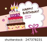 birthday card with cake... | Shutterstock .eps vector #247378231