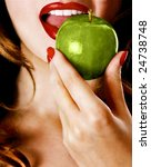 Woman eating a green apple - stock photo