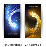 two horizontal banner with blue ...