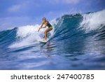 surfer girl on amazing blue... | Shutterstock . vector #247400785