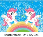 card with a cute unicorns and... | Shutterstock .eps vector #247427221