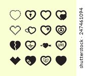 set of simple icons with heart... | Shutterstock .eps vector #247461094