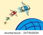 set of colorful cash with wings ...   Shutterstock .eps vector #247503034