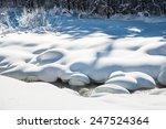 Snowfall On The Mountain River. ...