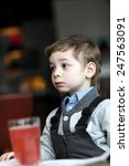 portrail of thinking child with ... | Shutterstock . vector #247563091
