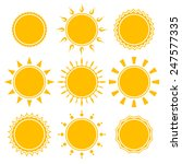 set of shiny bright yellow sun... | Shutterstock .eps vector #247577335