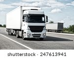 white truck on road. cargo... | Shutterstock . vector #247613941